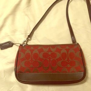 Vintage mini coach purse/crossbody red and brown